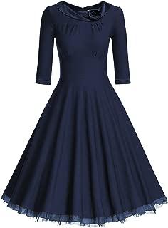 Women's 1950s Vintage 3/4 Sleeve Rockabilly Swing Dress