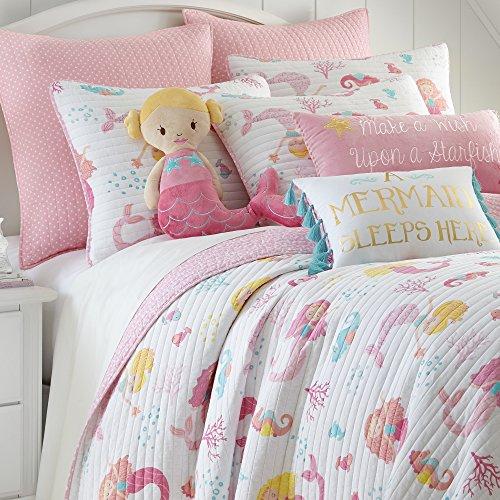 Levtex Marina Full/Queen Cotton Quilt Set, Pink, White Mermaid