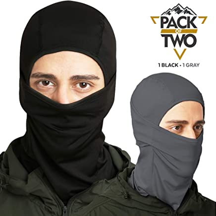 Balaclava - Windproof Ski Mask - Cold Weather Face Mask for Skiing, Snowboarding, Motorcycling & Winter Sports. Ultimate Protection from The Elements. Fits Under Helmets (2-Pack, Black / Cool Gray)