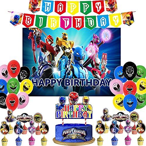 56 globos para decoración de cumpleaños Power Ranger para decoración de tartas Power Ranger fondo, suministros para fiestas (6021148Ranger, 56 piezas+7 x 5 pies)