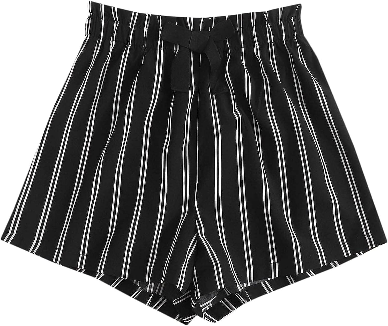 MakeMeChic Women's Casual Striped Print Paperbag Waist Wide Leg Shorts