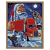 Kit de punto de cruz Conjunto de Kit de Punto de Cruz Bordado Incluye Hilos de Color Dibujo de Aguja de Paño de Algodón -Carrito de regalo de navidad 39x48cm(Sin Marco)