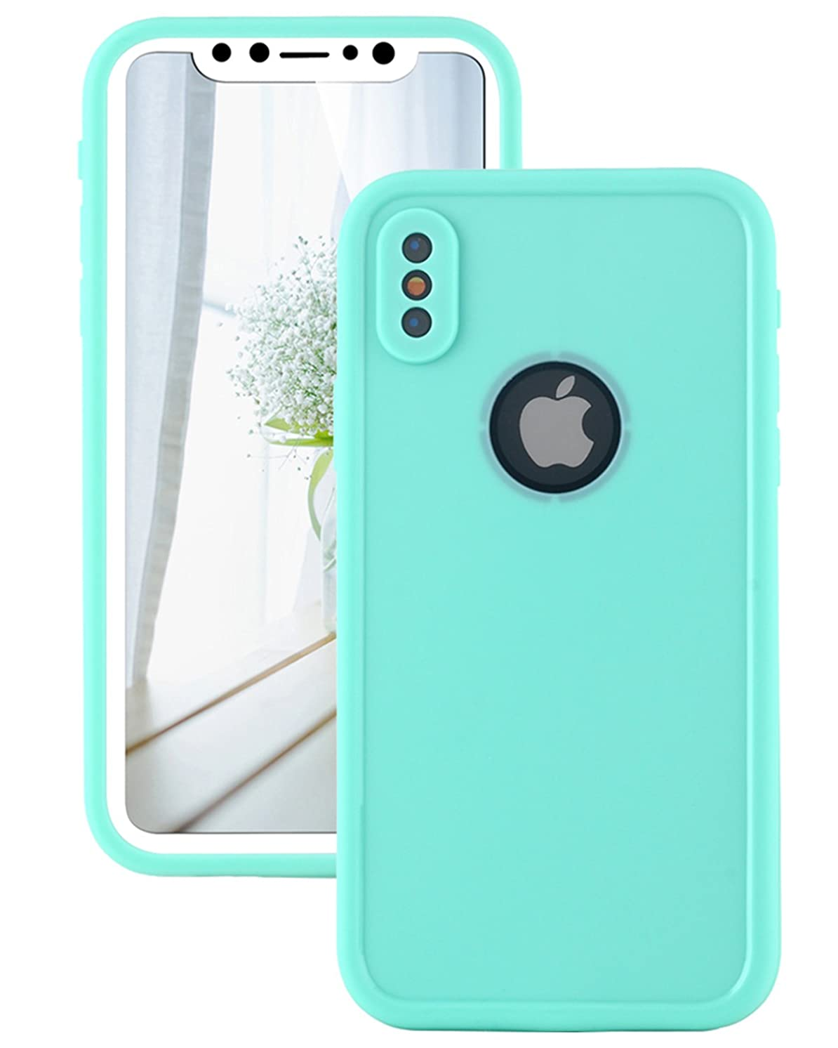 Lontect Compatible iPhone XS Waterproof Case Slim Thin Light Dirt/Dust Proof Snowproof Shockproof Case Full Body Underwater Protective Cover for Apple iPhone XS/iPhone X 5.8