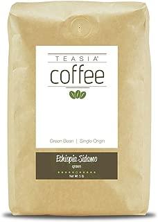 Teasia Coffee, Ethiopia Sidamo, Single Origin, Green Unroasted Whole Coffee Beans, 5-Pound Bag