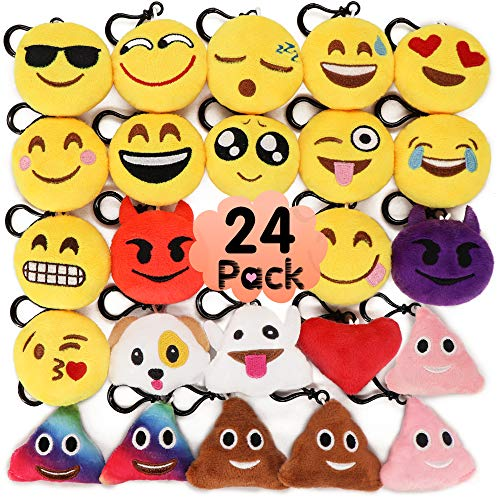 MelonBoat 24 Pack 2' Emoji Plush Keychain Mini Pillows Backpack Clips, Emoticon Poop Emoji Birthday Party Favors Supplies, Goodie Bag Stuffers, Novelty Gifts Toys Prizes for Kids