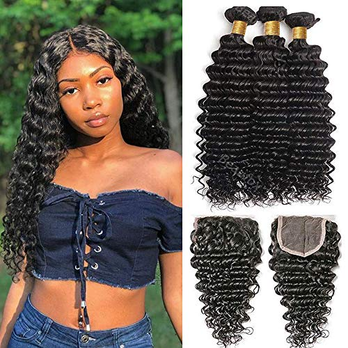 Deep Curly Wave Virgin Human Hair 100% Unprocessed 3 Bundles with Closure Natural Color Deep Curly Weave Remy Human Hair Bundles(12 14 16+12) Full Lace Free Part Closure for black women
