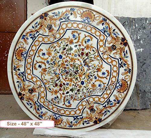 Gifts And Artefacts - Mesa de jardín con incrustaciones de mármol blanco para restaurante con incrustaciones de arte para dar un aspecto real a tu hogar