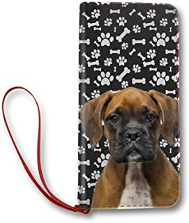 Women's Leather Long Wallet Design Brindle Boxer Dog Paws Pattern, Dog mom gifts