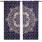 Juego de cortinas con mandala, diseño de flores grandes, color azul y dorado, para...