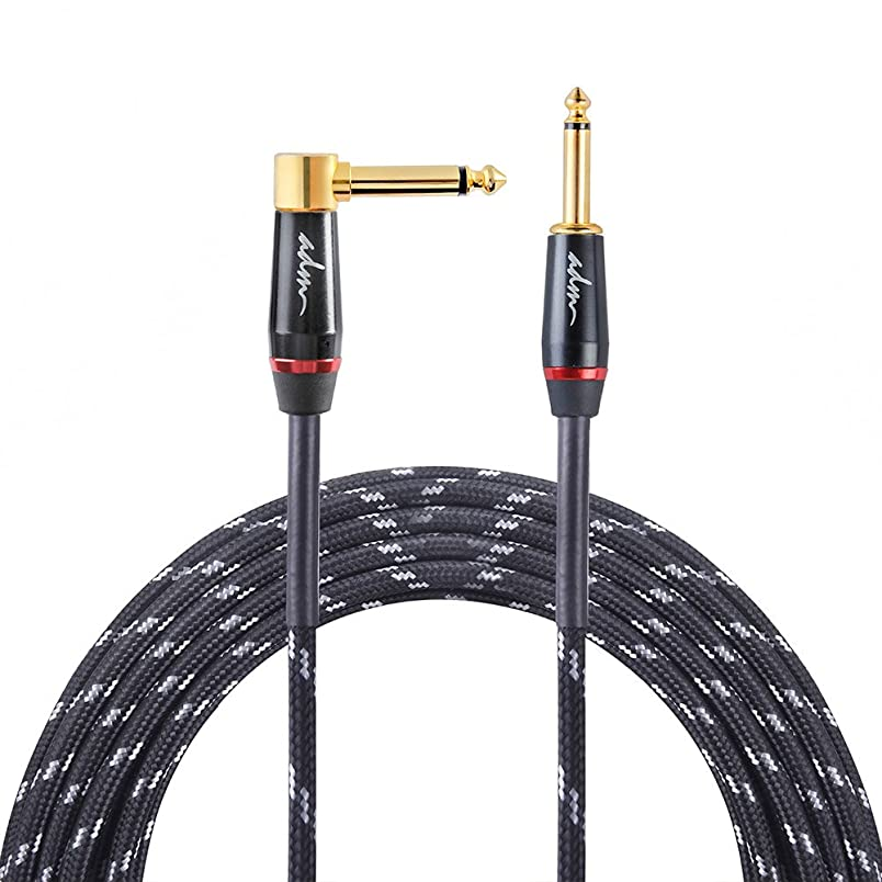 ADM 10FT 3M Straight to Right Angle Noiseless Musical Instruments Electric Guitar & Bass Cable, Studio Quality Guitars & Bass Amp Cord, Black Tweed Woven Jacket mq172182418