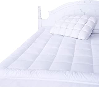 """Naluka Mattress Pad Full Size with Deep Pocket Microplush Mattress Topper with Fitted Skirt Quilted Stretch Pillow Top (54""""x75"""")"""