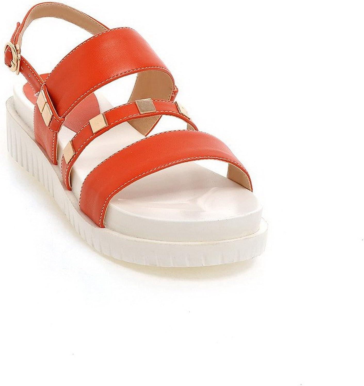 WeenFashion Women's Soft Material Open Toe Kitten-Heels Buckle Solid Sandals