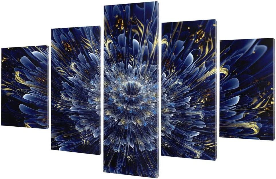 NicheCanvas - Infinite Blue 67% OFF of fixed price Flower 80x40 Ready to Panels Han Popular 5