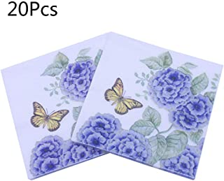 lipiny 20 Sheets/Bag Creative Flower Purple Hydrangea Paper Napkins Guest Wedding Party Tableware Decoration Supply