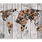 murando - Fototapete Weltkarte 350x256 cm - Vlies Tapete - Moderne Wanddeko - Design Tapete - Wandtapete - Wand Dekoration - Bretter Holz Steampunk Abstrakt k-A-0037-a-c