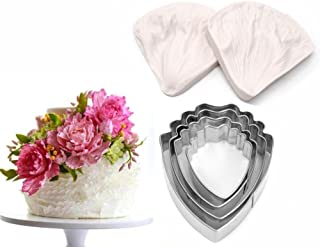 AK ART KITCHENWARE Peony Cutter & Veiner Cake Decorating Supplies Stainless Steel Cookie Cutter Silicone Veining Mold Gumpaste Making Tool A327&VM060