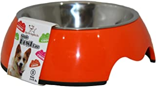 Best Pet Supplies BW01-OR-L Single Feeding Bowl with Stainless Steel Insert for Pets, Large