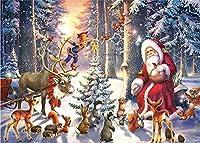 クリスマスの風景、大人の子供のための番号キットによるペイント 家の装飾のための DIY キャンバス絵画- 50x60cm フレームレス