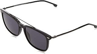 BOSS by Hugo Boss Men's Boss 0930/s Polarized Rectangular Sunglasses, BLACK, 55 mm
