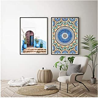 dayanzai Mosque Blue Door Nordic Poster Morocco Building Wall Art Canvas Painting Religion School Wall Picture for Living Room Home Decor-60X80Cmx2Pcs-No Frame