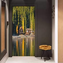 Onefzc Soliciting Sticker for Door Lake Tahoe Carnelian Bay Photography Log Cabin in The Woods Holiday Destination Lakeside Mural Wallpaper W31 x H79 Multicolor