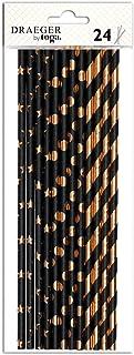 Toga DKO029 Pailles Classique, Noir et Or - Set de 24 Pièces