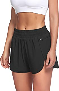 Womens Workout Shorts with Zip Pocket Quick-Dry Athletic...