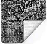 Gorilla Grip Original Luxury Chenille Bathroom Rug Mat, 44x26, Extra Soft and Absorbent Large Shaggy Rugs, Machine Wash Dry, Perfect Plush Carpet Mats for Tub, Shower, and Bath Room, Grey