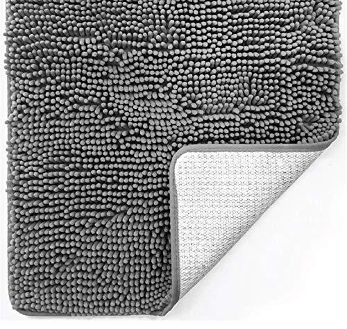 Gorilla Grip Original Luxury Chenille Bathroom Rug Mat, Extra Soft and Absorbent Shaggy Rugs, Machine Washable, Quick Dry Bathmat, Plush Carpet for Tub, Shower and Bath Room Floor Mats, 17x24, Grey