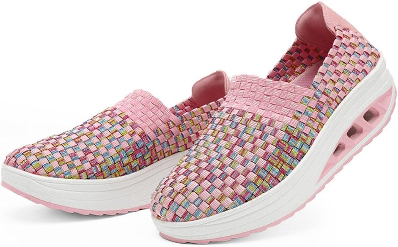 CYBLING Women Handmade Sneakers Slip On Low Heel Low Top Breathable Woven shoes