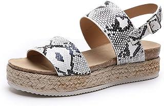 Black Espadrille Jute-Wrapped Wedges Sandals for Women Platform Woman Wedge Dress Sandals Open Toe (US 10 Medium)