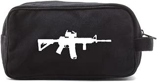Military Ar15 M4 Rifle Sight Scope Silhouette Army Heavyweight Messenger Shoulder Bag Black on Mocha Canvas