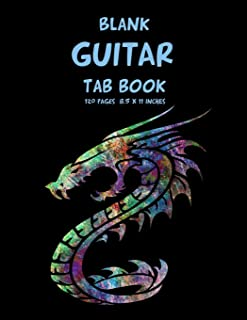 Blank Guitar Tab Book: 120 Pages 8,5 x 11 Inches