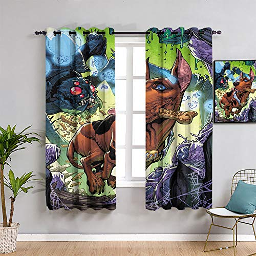 Sdustin Scooby Apocalypse Porter Scooby Room Curtains,Treatments Thermal Insulated Light Blocking Drapes Back for Bedroom 62'x72'(160x 183 cm)