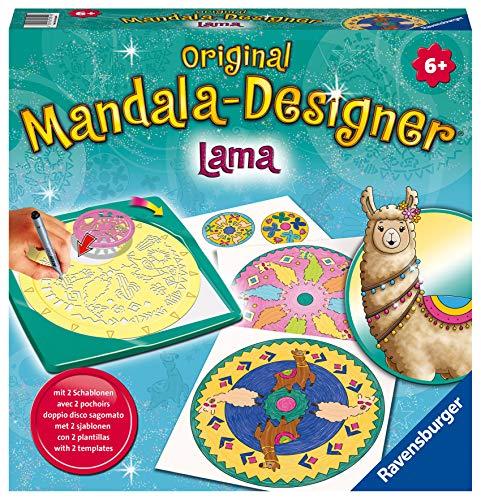 Ravensburger Mandala Designer Lama 28519, Zeichnen lernen für Kinder ab 6 Jahren, Kreatives Zeichen-Set mit Mandala-Schablonen für farbenfrohe Mandalas