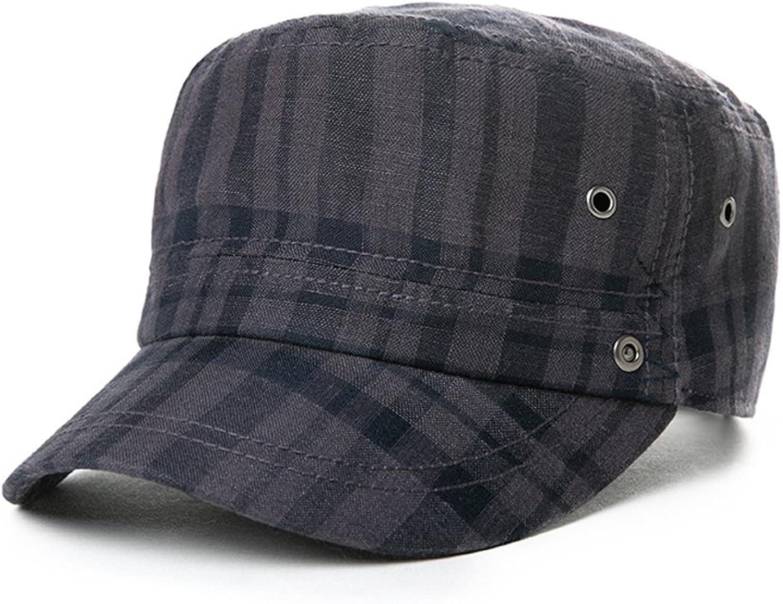 Lattice Flat Top Hat Male Summer Leisure Cap Outdoor Travel Sun Hat Street Joker Adjustable