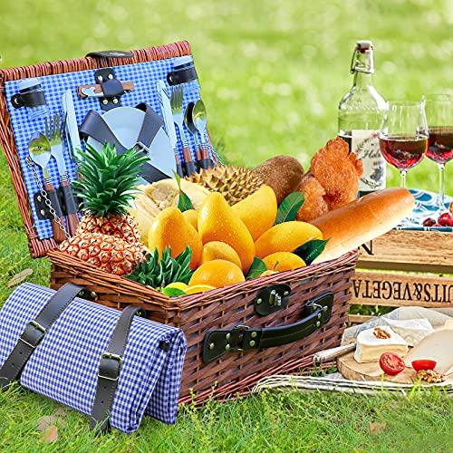 PaNt Willow Picknickkorb Set für 4 Personen mit Großer Isolierter Kühltasche und Besteckservice Kit, Camping Wicker Korb Wicker für Service Geschenk-Set für Camping und Outdoor Party (Blau und weiß)