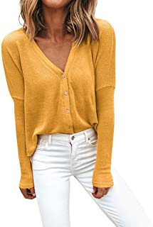 Honghii Womens Blouse V Neck Button Up Tops T Shirts Slim Fit Shirt Tunic Ribbed Long Sleeve Tops Elegant Chic Jumper