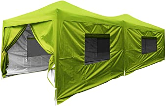 Quictent Privacy 10x20 EZ Pop Up Canopy Tent Party Tent Outdoor Event Gazebo Waterproof with Roller Bag- 4 Colors (Green with Sides)