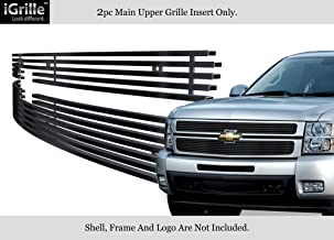 APS Stainless Steel 304 Black Billet Grille Grill Custome Compatible with 2007-2013 Chevy Silverado 1500