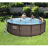 Bestway 14ft x 42in Power Steel Deluxe Frame Pool Set With Pool Cover, Ground Cloth, Ladder & Filter Pump BW56664