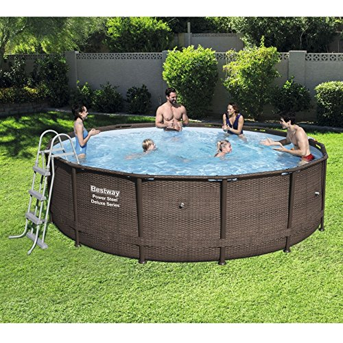 Bestway 14ft x 42in Power Steel Deluxe Frame Pool Set With Pool Cover, Ground Cloth, Ladder & Filter...