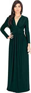Womens Sleeve Vintage V-Neck Fall Winter Formal Gown
