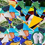 Yisau Stained Glass Mosaic Glass Tiles Crafts, Bulk Assorted Colors and Shapes Mosaic Stained Glass Pieces for Home Decoration or DIY - 32 Ounce