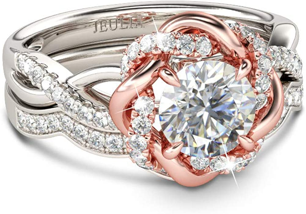 JEULIA Halo Solitaire Engagement Rings Silver for Sterling Recommended Women Sale price