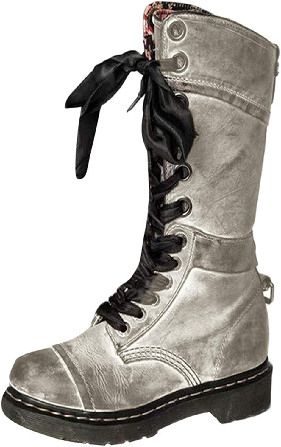 ThePass Women's Retro Leather Middle Boot Round Toe Lace-Up Martin shoes