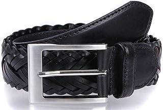 Dents Mens Plaited Strap Leather Belt - Black