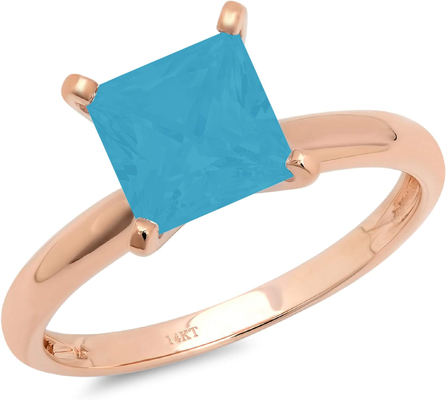 1.9ct Brilliant Princess Cut Solitaire Flawless Simulated Cubic Zirconia Blue Turquoise Ideal 4-Prong Engagement Wedding Bridal Promise Anniversary Designer Ring Solid 14k Rose Gold for Women