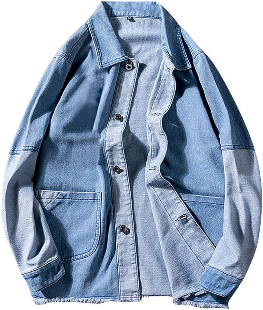 Rompevientos Hombres Otoño Tendencia Costura Cárdigan Abrigo Denim Traje De Pantalón para Hombre