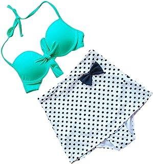 CUHAWUDBA 新しいビンテージな水着 ハイウエストビキニ 緑の水玉プリントのビキニセット 可愛い水着 女性の水着-S